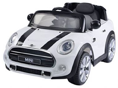 kids electric ride on car Mini Cooper official model 12v battery powered motorised ride-in toy cars white